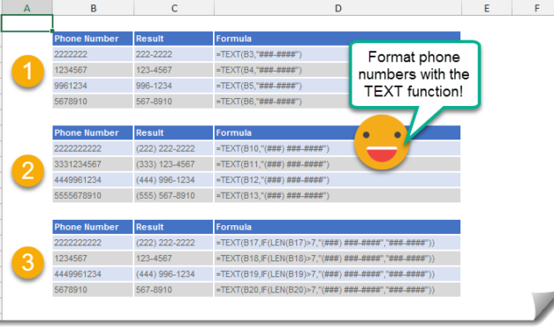 How To Format A Telephone Number Using The TEXT Function