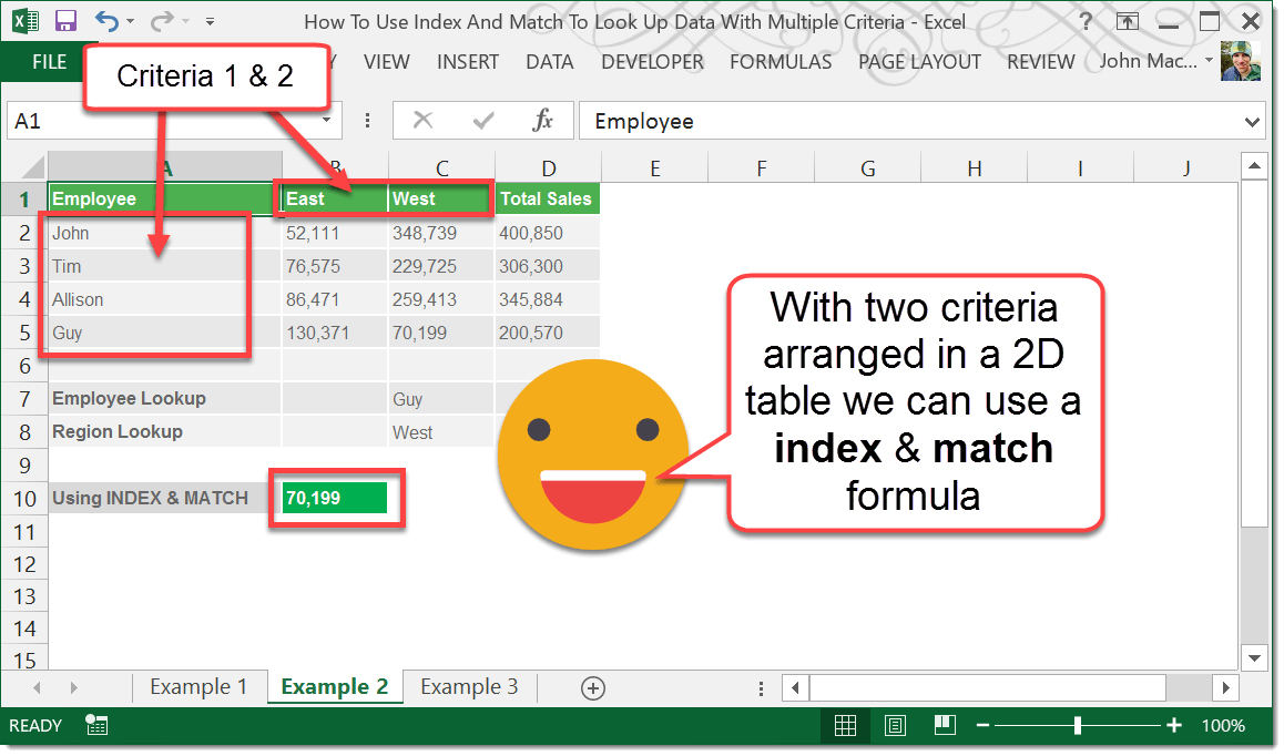 How To Use Index And Match To Look Up Data With Multiple Criteria ...