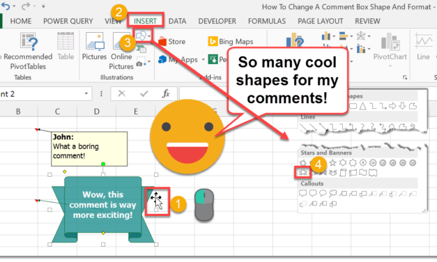 How To Change A Comment Box Shape And Format
