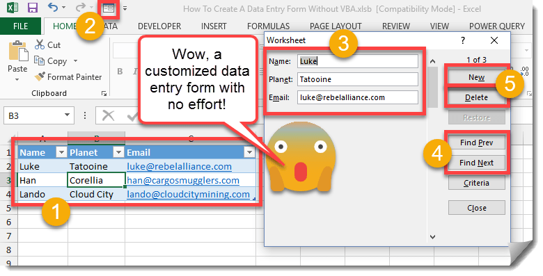 How To Create A Data Entry Form Without VBA | How To Excel