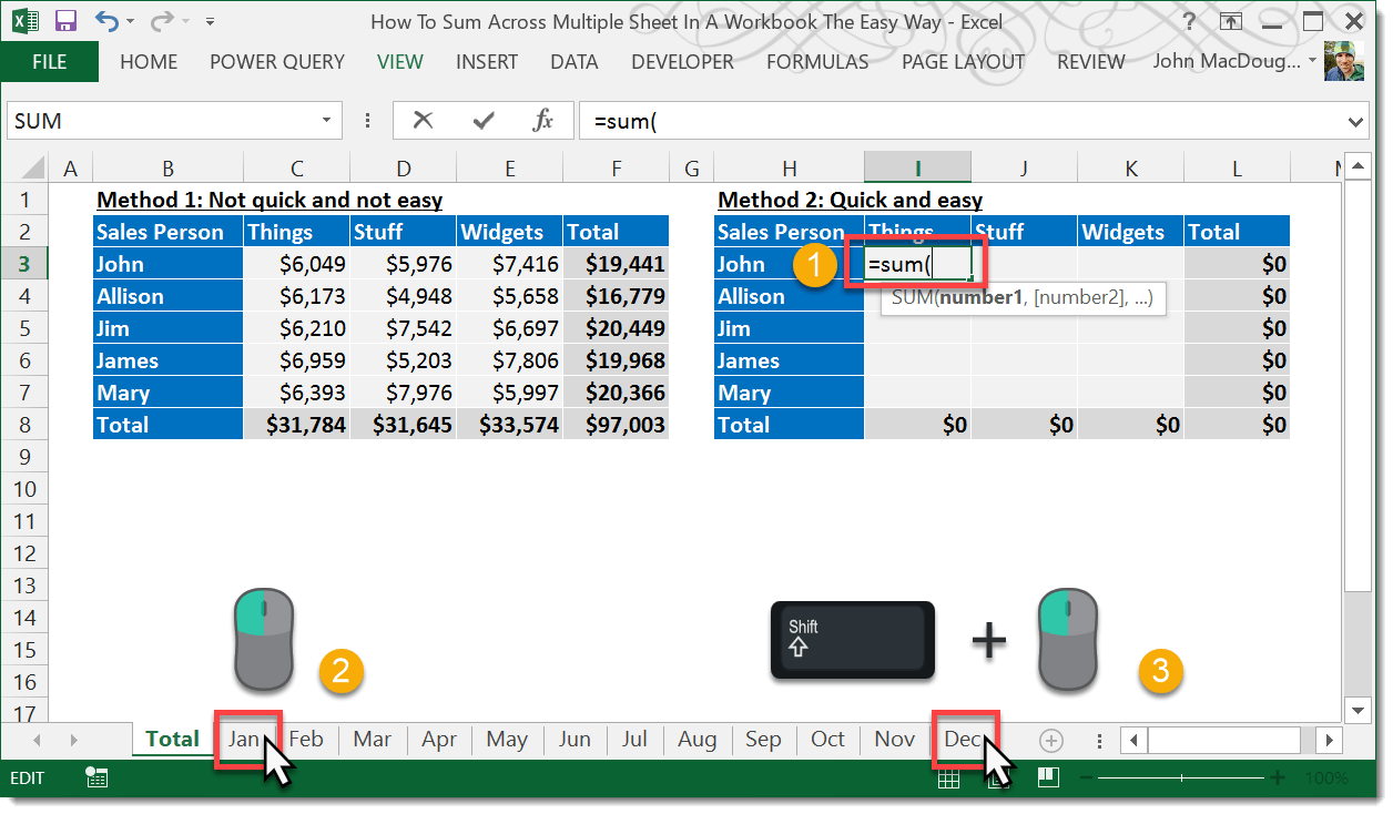 How To Sum Across Multiple Sheets In A Workbook | How To Excel