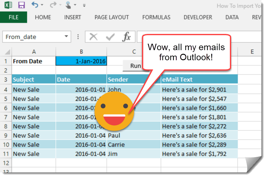 How To Import Your Outlook Emails Into Excel With VBA | How