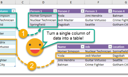 How To Turn A Column Into A Table Using Formulas