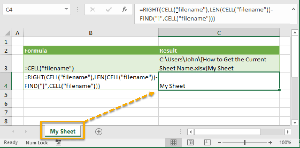 How to Get the Current Sheet Name | How To Excel