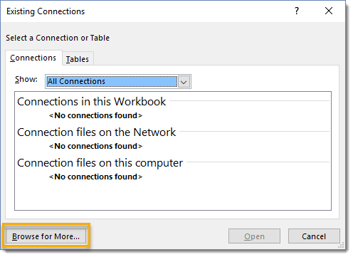 Choose-Connections-Browse-for-More 101 Advanced Pivot Table Tips And Tricks You Need To Know