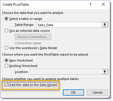 Create-PivotTable-Add-this-to-the-Data-Model 101 Advanced Pivot Table Tips And Tricks You Need To Know