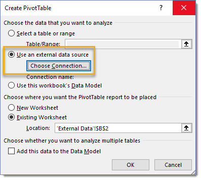 Create-PivotTable-Use-an-External-Source-and-Choose-Connection 101 Advanced Pivot Table Tips And Tricks You Need To Know