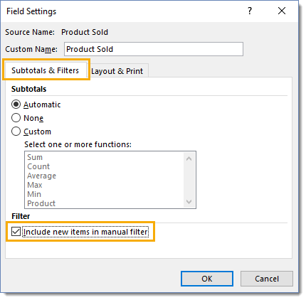 Field-Settings-Include-New-Items-in-Manual-Filter 101 Advanced Pivot Table Tips And Tricks You Need To Know