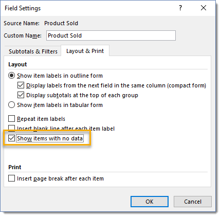 Field-Settings-Show-Items-with-No-Data 101 Advanced Pivot Table Tips And Tricks You Need To Know