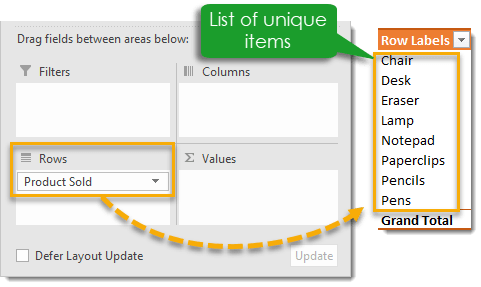 Get-a-List-of-Unique-Items-from-a-Field 101 Advanced Pivot Table Tips And Tricks You Need To Know