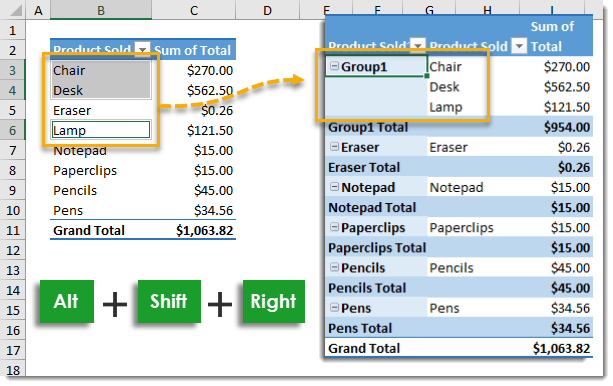 Group-Items-in-a-Field-Using-a-Keyboard-Shortcut 101 Advanced Pivot Table Tips And Tricks You Need To Know