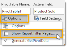 Options-Show-Report-Filter-Pages 101 Advanced Pivot Table Tips And Tricks You Need To Know