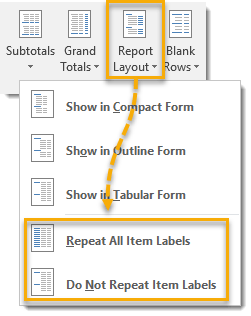 Repeat-All-Item-Labels-from-Design-Tab 101 Advanced Pivot Table Tips And Tricks You Need To Know