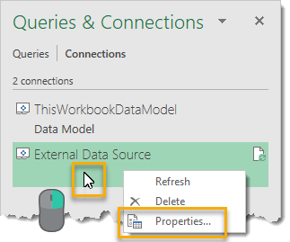 Right-Click-to-Open-Queries-and-Connections-Properties-Menu 101 Advanced Pivot Table Tips And Tricks You Need To Know