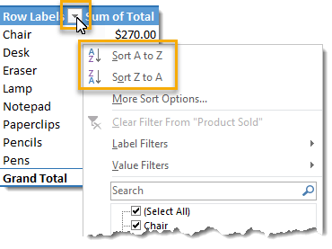 Sort-Alphabetically-Using-the-Filter 101 Advanced Pivot Table Tips And Tricks You Need To Know