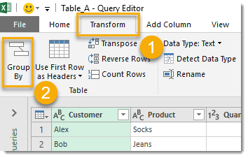 Table-A-Creating-Group-By-Query-Step-2 How To Compare Two Tables Using Get & Transform