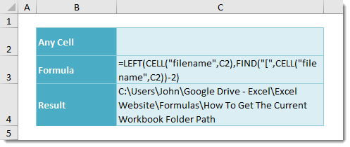 How To Get The Current Workbook Folder Path