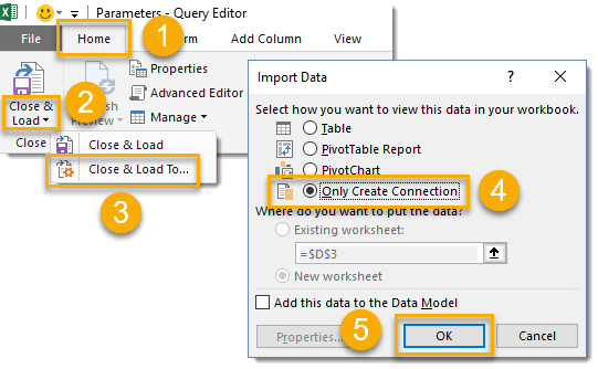 How-To-Parameterize-Your-Power-Query-Close-and-Load-To-Only-Connection How To Parameterize Your Power Query
