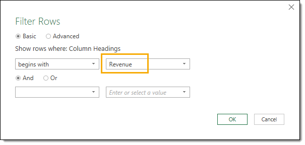 Begins-with-Filter-Rows-on-Revenue How to Deal with Changing Data Formats in Power Query