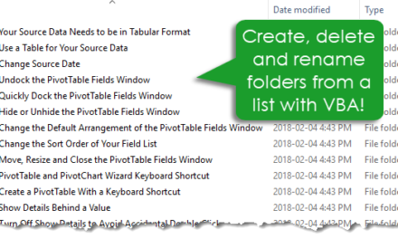 How to Create Delete and Rename Folders from a List