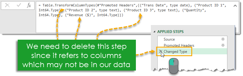 Delete-the-Change-Type-Step-in-the-CSV-Import-Query How to Deal with Changing Data Formats in Power Query