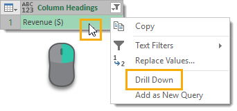 Drill-Down-to-the-Revenue-Column-Heading-Value How to Deal with Changing Data Formats in Power Query