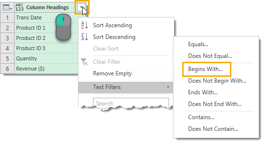 Filter-Column-Headings-on-Text-Begins-With How to Deal with Changing Data Formats in Power Query
