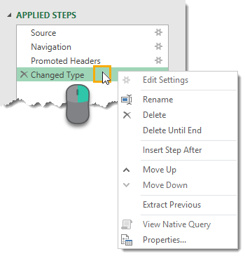 Right-Click-Menu-in-Applied-Steps The Complete Guide to Power Query
