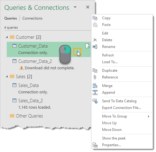 Right-Click-Menu-on-Query-in-Queries-and-Connections The Complete Guide to Power Query
