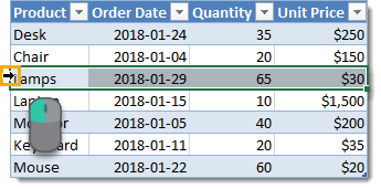Selecting-the-Entire-Row-in-a-Table Everything You Need to Know About Excel Tables