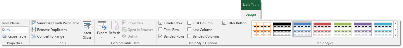 Table-Tools-Design-Tab Everything You Need to Know About Excel Tables
