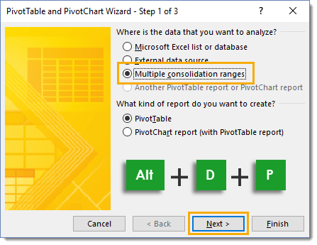 Step-1-of-the-PivotTable-and-PivotChart-Wizard How To Combine And Unpivot With The Pivot Table Wizard
