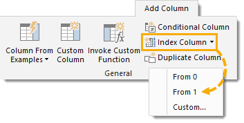 Add-Index-Column-Starting-From-1 Transform a Column to a Table with Power Query
