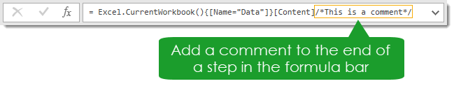 Add-a-Comment-Using-the-Formula-Bar Amazing Power Query Tips and Tricks