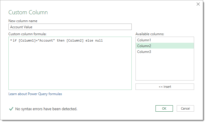 Custom-Column-to-Capture-the-Account-Name Adding Metadata to a Report with Power Query