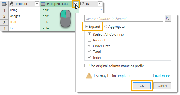 Expand-Grouped-Data-Column Create Grouped Serial Numbers with Power Query
