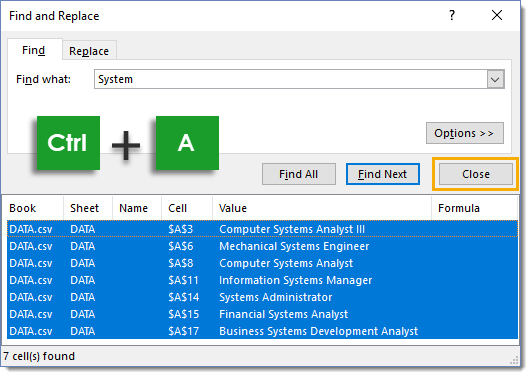 Find-Dialog-Box-with-Found-Cell-Results Amazing Excel Tips and Tricks