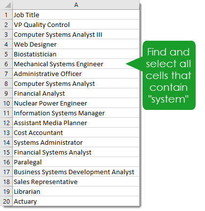 Find-and-Select-All-Cells-with-a-Given-Text-String Amazing Excel Tips and Tricks