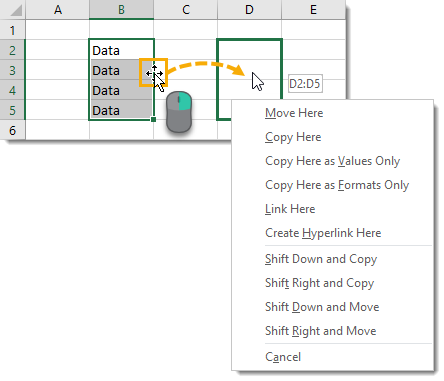 Right-Click-and-Drag-for-Advanced-Features Amazing Excel Tips and Tricks