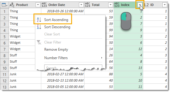 Sort-Index-by-Ascending-Order Create Grouped Serial Numbers with Power Query