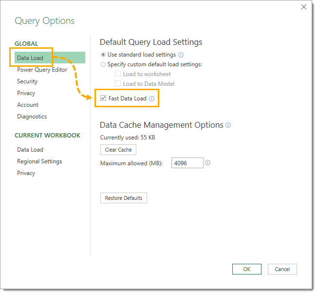 Enable-Fast-Data-Load-in-Power-Query 25 Amazing Power Query Tips and Tricks