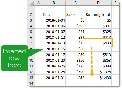 Copy-and-Paste-Down-Formula-to-Fill-Blank 7 Ways to Add Running Totals in Excel
