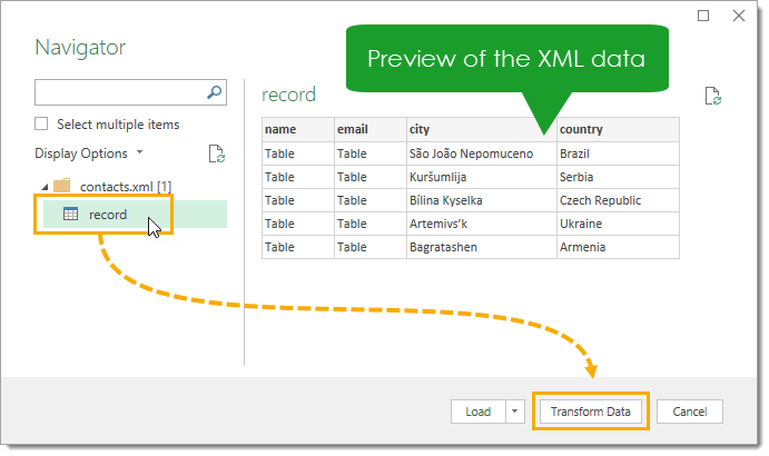 Navigator-Window-with-Data-Preview Import XML Files into Excel