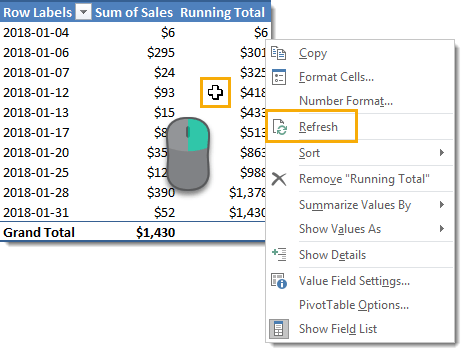 Refresh-Pivot-Table 7 Ways to Add Running Totals in Excel