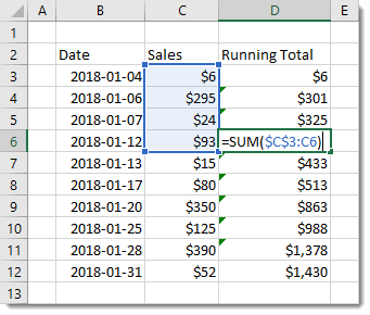Running-Total-Formula-with-Partially-Fixed-Range 7 Ways to Add Running Totals in Excel