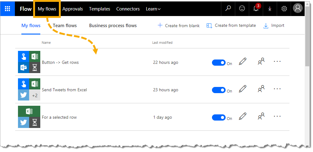 My-Flows Sending Emails from Excel with Microsoft Flow