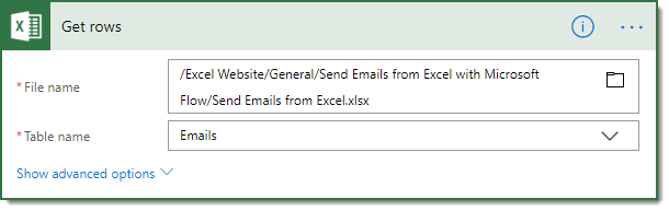 Select-Excel-File-and-Table Sending Emails from Excel with Microsoft Flow