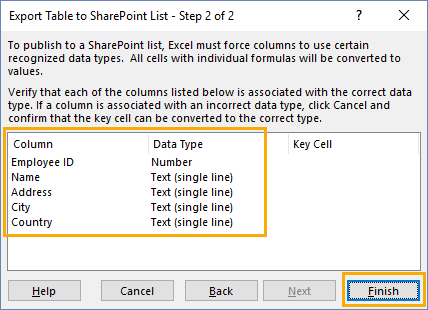 Export-Table-to-SharePoint-List-Wizard-Step-2 Importing and Exporting Data from SharePoint and Excel