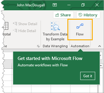 Flow-in-the-Data-Tab Sending SMS Text Messages From Excel