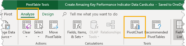 Add-PivotChart Create Amazing Key Performance Indicator Data Cards In Excel